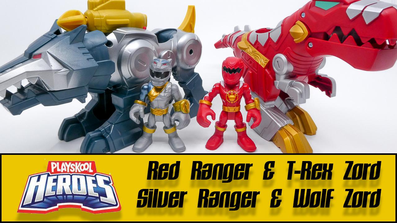 Power Rangers Playskool Heroes Silver Ranger /& Wolf Zord Figure Set